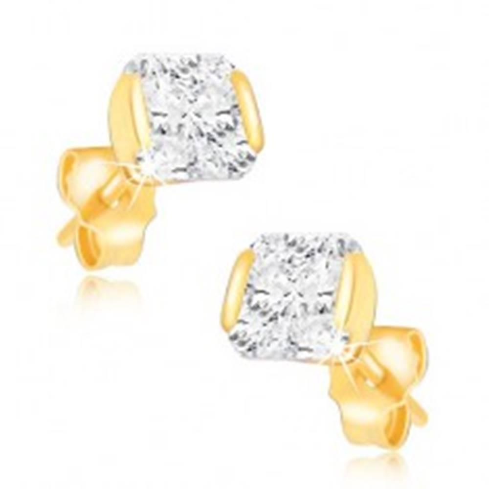 Šperky eshop Zlaté 14K náušnice - trblietavý zirkón uchytený z dvoch strán v objímke