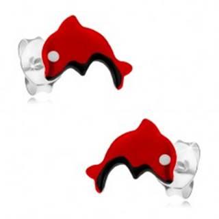 Puzetové náušnice zo striebra 925, červený skáčuci delfínik, glazúra