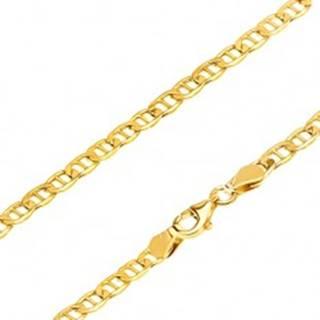 Retiazka zo žltého 14K zlata - širšie oválne očká s tenkou paličkou, 550 mm