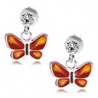 Strieborné 925 náušnice, číry krištálik Swarovski, červeno-ružový motýlik