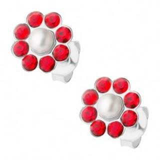 Strieborné náušnice 925, červený kvietok s bielou perličkou v strede