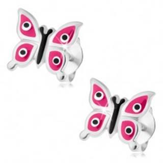 Strieborné náušnice 925, lesklý motýľ s ružovými krídlami, čierno-biele bodky