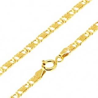 Zlatá retiazka 585 - ploché podlhovasté ryhované články, mriežka, 600 mm