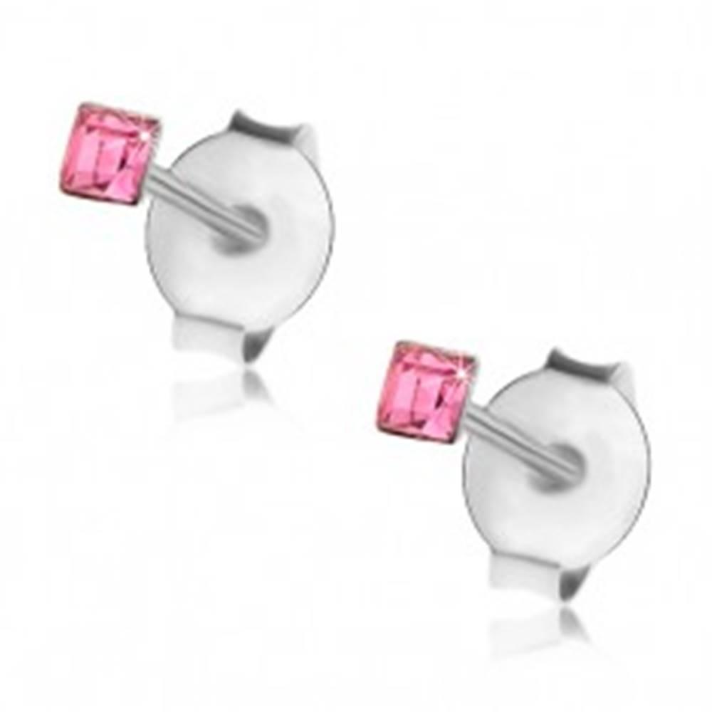 Šperky eshop Náušnice zo striebra 925, ružový krištálik Swarovski - štvorček, 2 mm