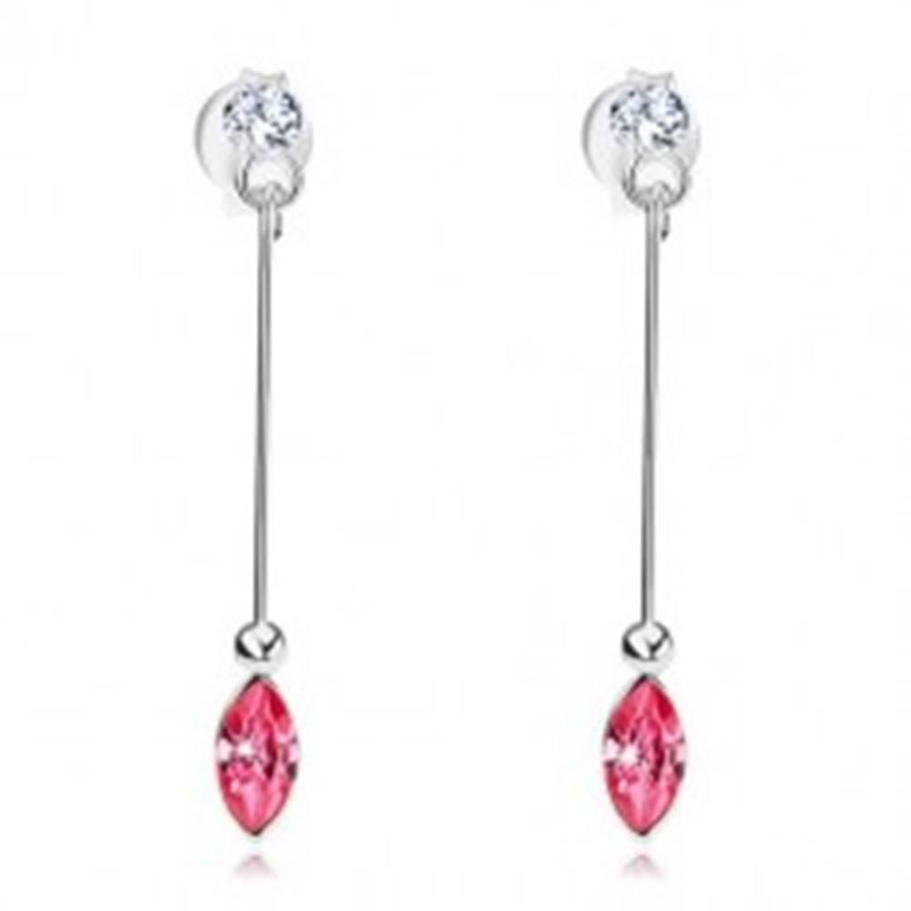Šperky eshop Náušnice zo striebra 925, úzka palička, ružový a číry krištáľ Swarovski
