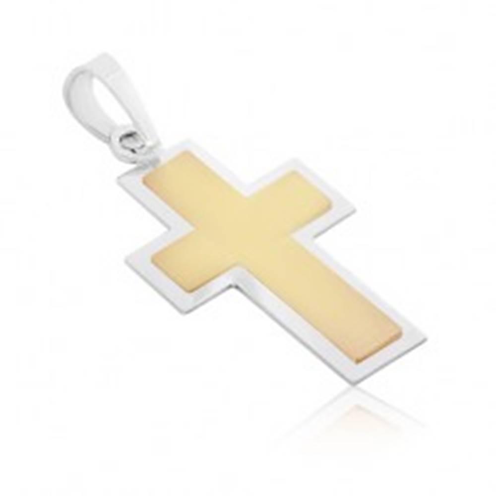 Šperky eshop Prívesok zo 14K zlata - dvojfarebný krížik s matným stredom