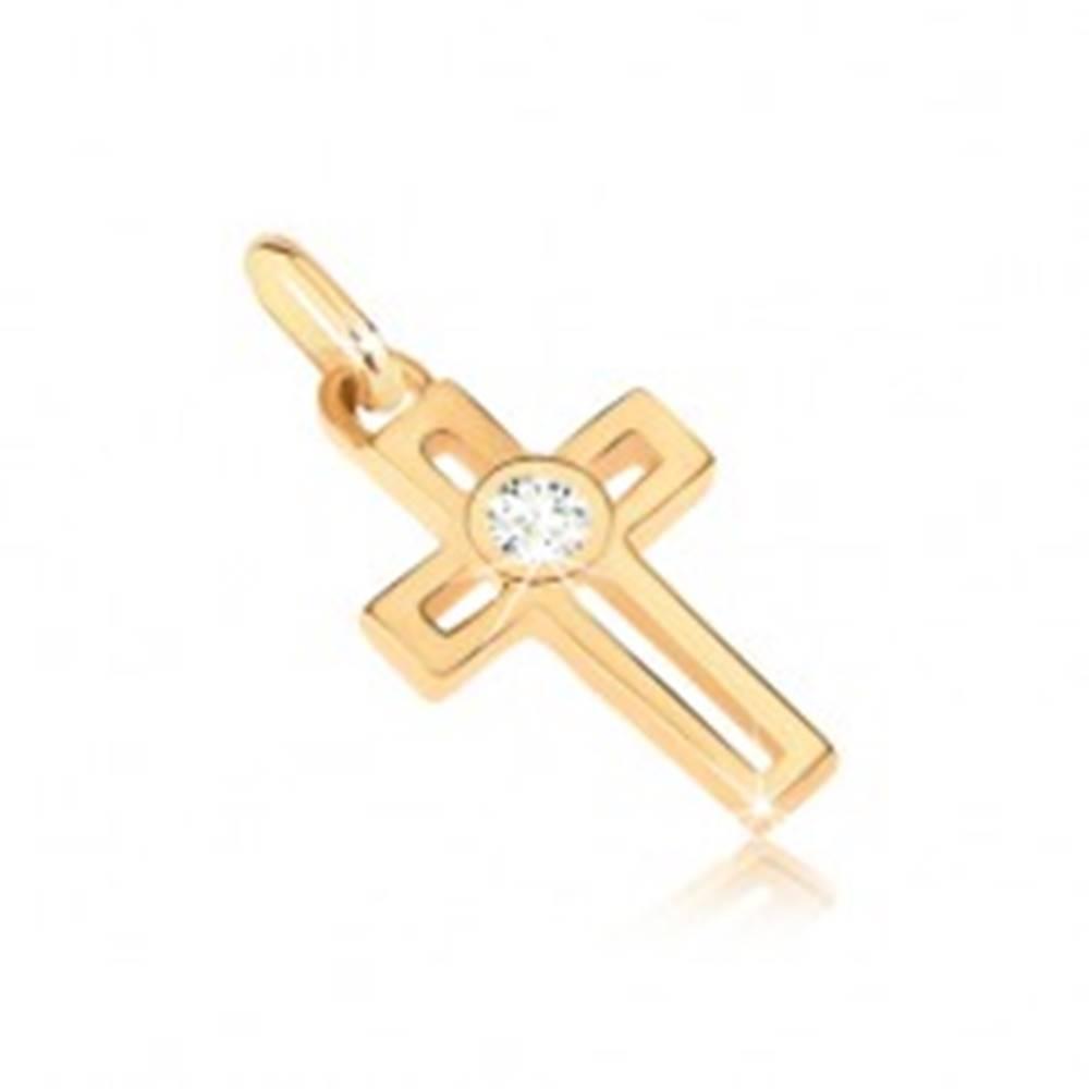 Šperky eshop Prívesok zo 14K zlata - krížik s obĺžnikovým výrezom a okrúhlym zirkónom