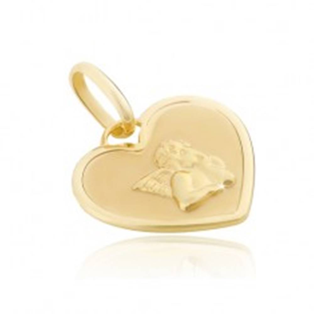Šperky eshop Prívesok zo zlata 14K - srdcová známka s lesklým anjelikom