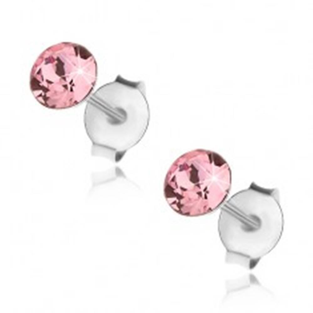 Šperky eshop Puzetové náušnice, striebro 925, Swarovski krištálik ružovej farby, 4 mm