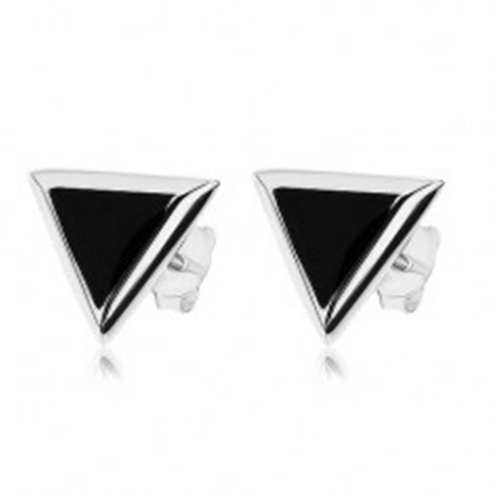 Šperky eshop Puzetové náušnice, striebro 925, trojuholníkový čierny ónyx, strieborný lem