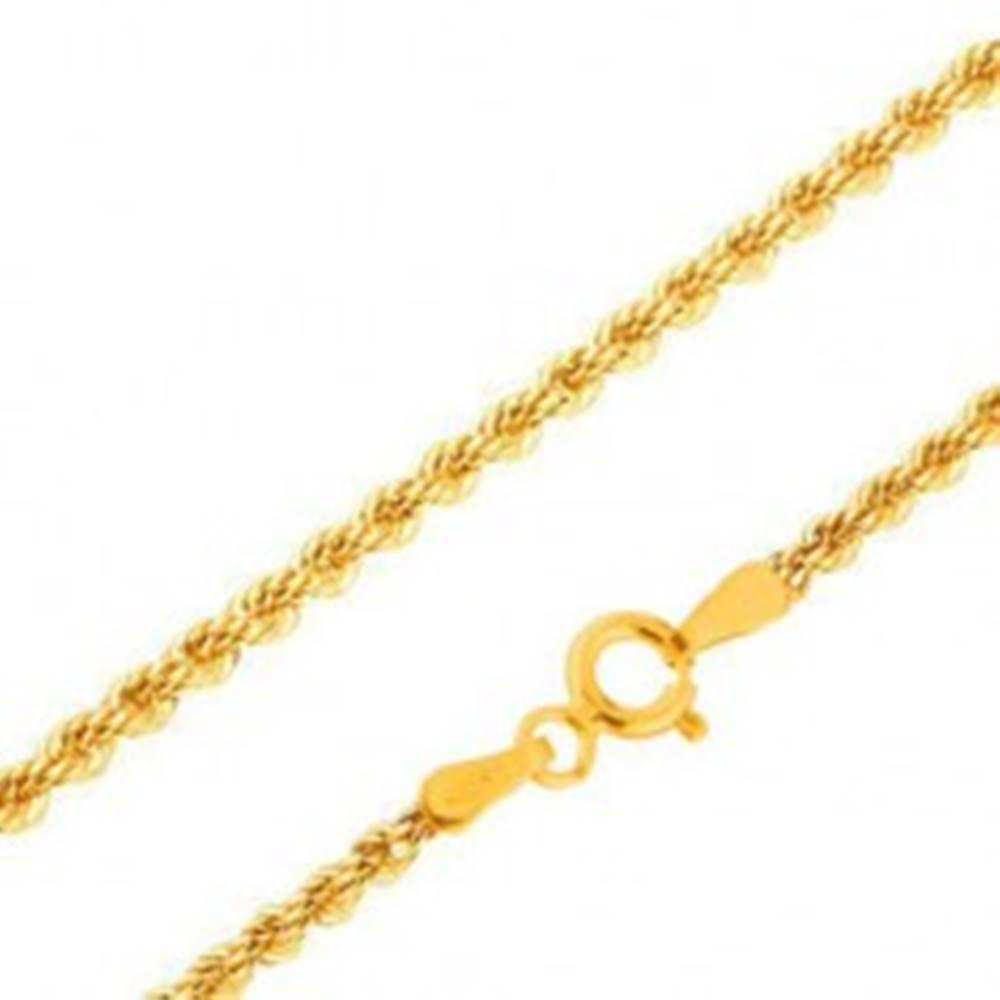 Šperky eshop Retiazka v žltom 14K zlate - husto prepojené očká do špirály, 450 mm