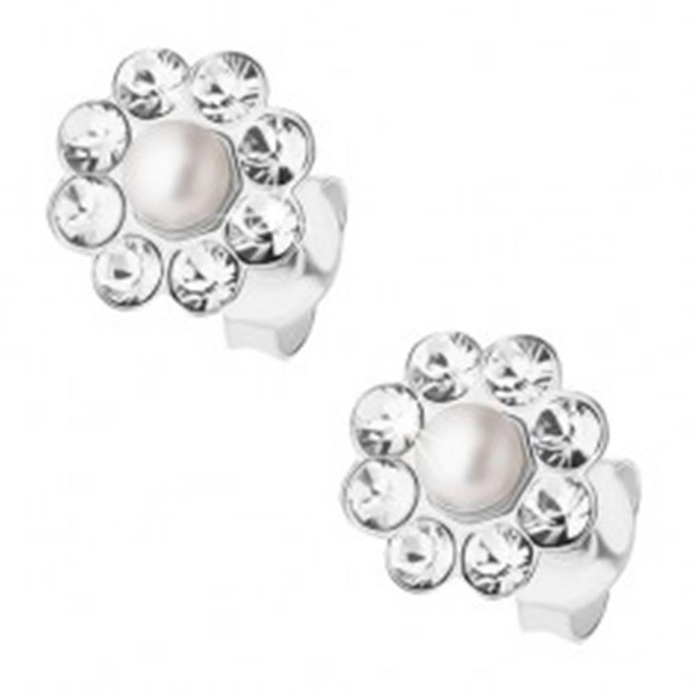 Šperky eshop Strieborné 925 náušnice, kvietok s perličkou a čírymi krištálikmi Preciosa