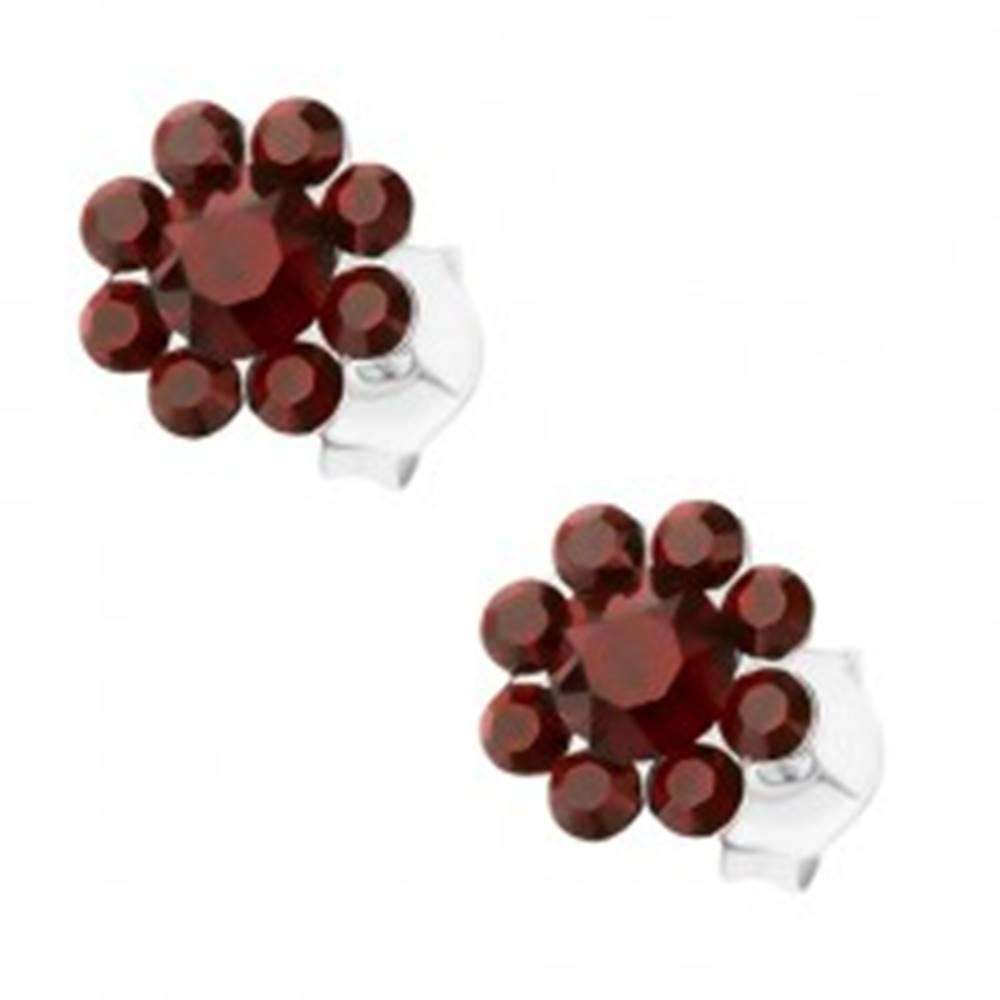 Šperky eshop Strieborné 925 náušnice, kvietok z Preciosa krištáľov bordovej farby