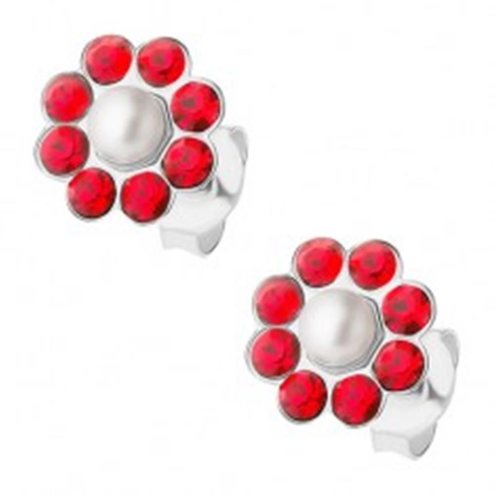 Šperky eshop Strieborné náušnice 925, červený kvietok s bielou perličkou v strede