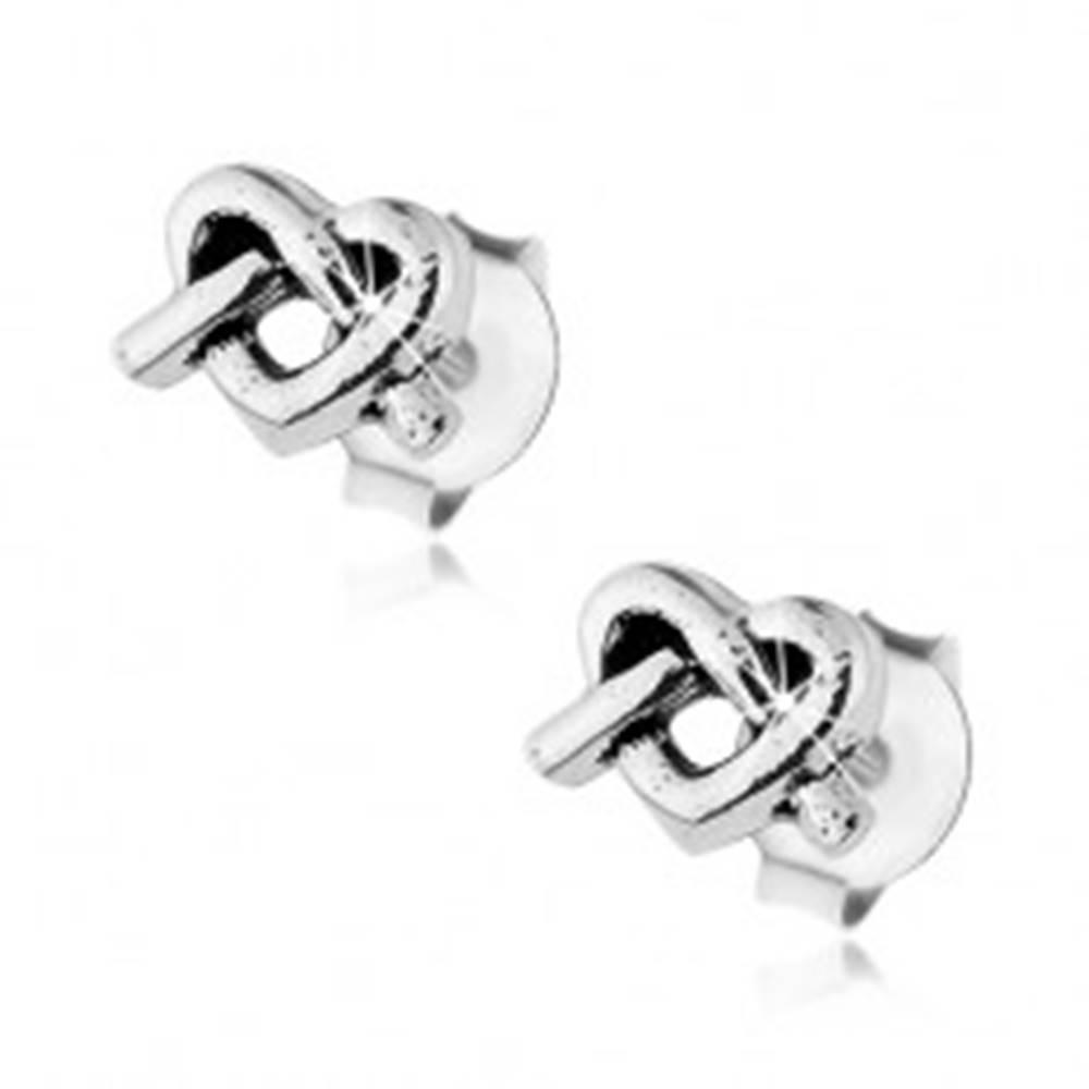 Šperky eshop Strieborné náušnice 925, obrys srdiečka s prekríženými líniami, puzetky