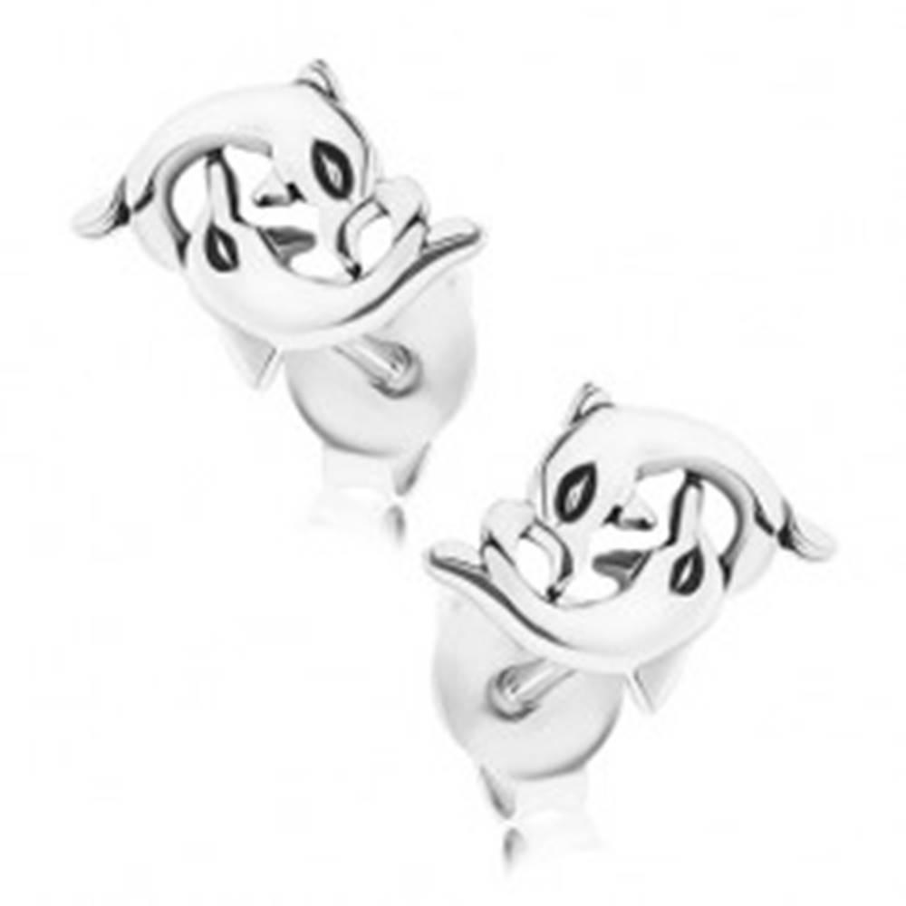 Šperky eshop Strieborné náušnice 925, ohýbajúce sa delfíny, puzetové zapínanie