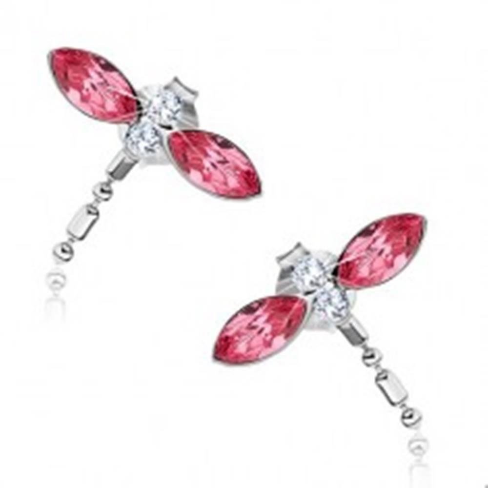 Šperky eshop Strieborné náušnice 925, vážky, ružové krídla zo Swarovski krištáľov, visiaci chvost
