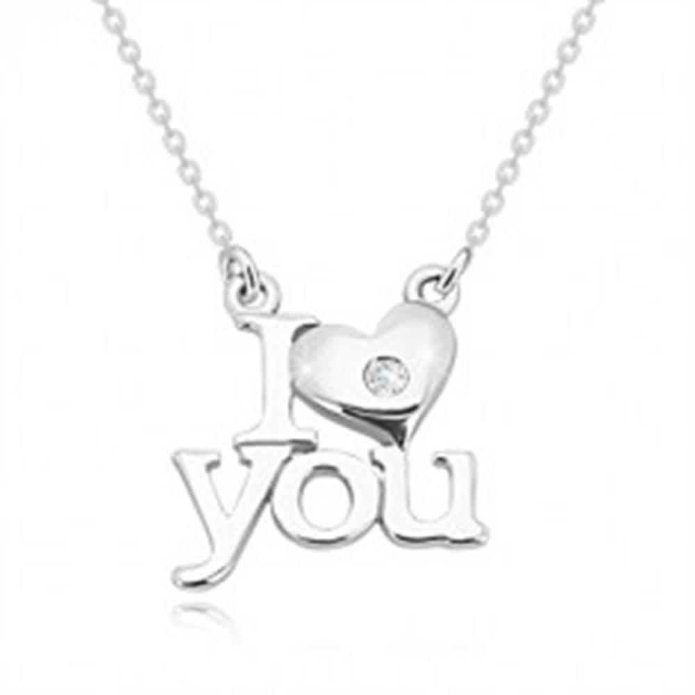 """Šperky eshop Briliantový náhrdelník zo striebra 925, """"I heart you"""", retiazka z oválnych očiek"""