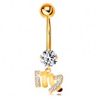 Piercing do pupku v žltom 14K zlate - číry zirkón, symbol znamenia PANNA