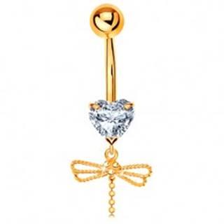 Zlatý 585 piercing do pupku - číre srdiečko, visiaca vážka s ohybným chvostom