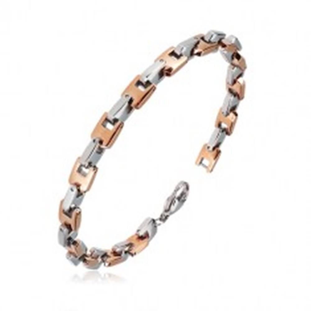 Šperky eshop Oceľový náramok - kolmo napájané U-články ružovozlatej a striebornej farby, 6 mm