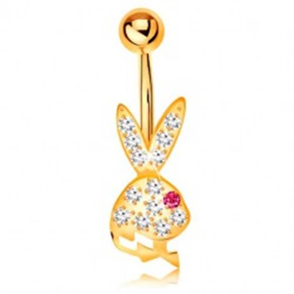 Šperky eshop Piercing do brucha v žltom 14K zlate - trblietavá hlava zajačika s ružovým očkom