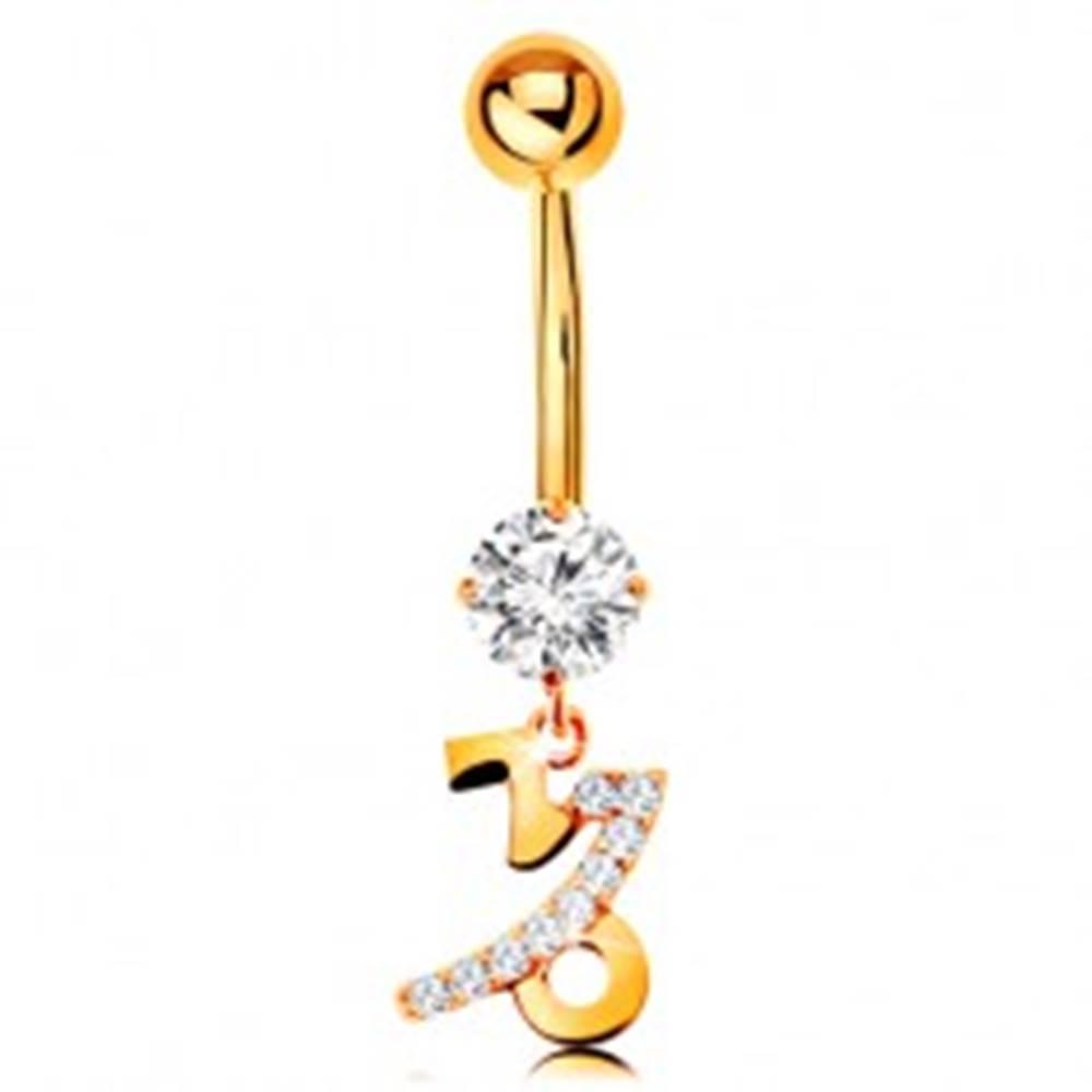 Šperky eshop Piercing do brucha zo žltého 14K zlata - zirkón, znamenie zverokruhu - KOZOROŽEC