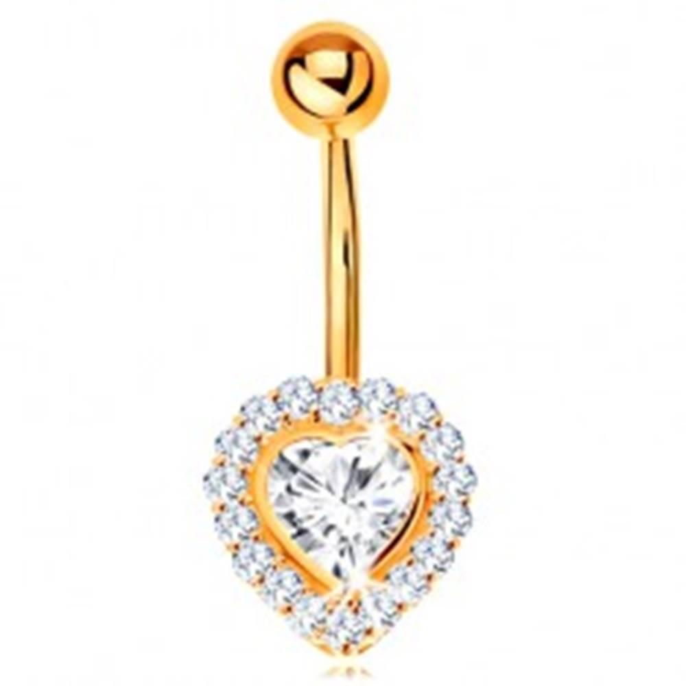 Šperky eshop Piercing do bruška v žltom 14K zlate - číre zirkónové srdce lemované zirkónikmi