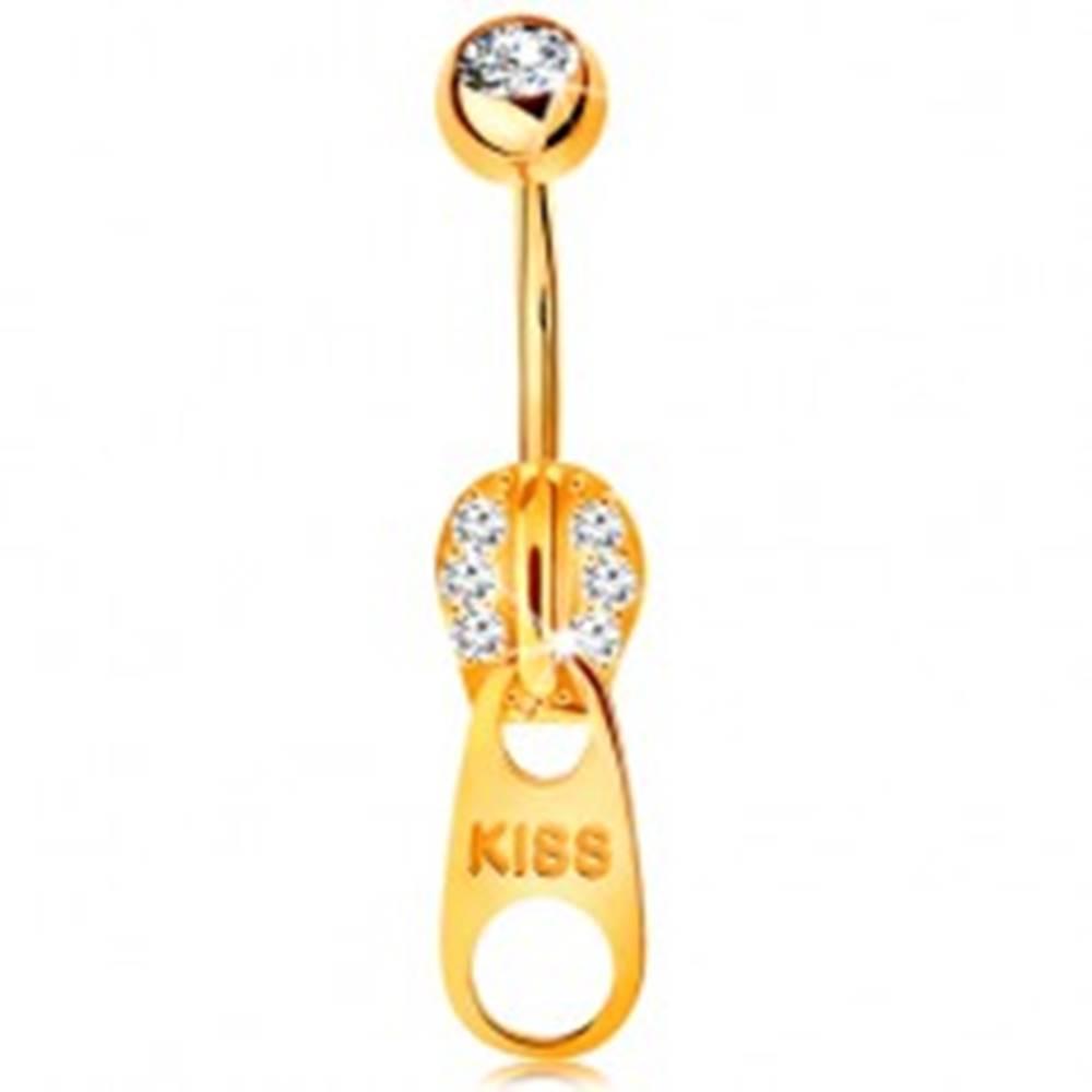 Šperky eshop Piercing do bruška v žltom 14K zlate - zips zdobený zirkónikmi a nápisom KISS