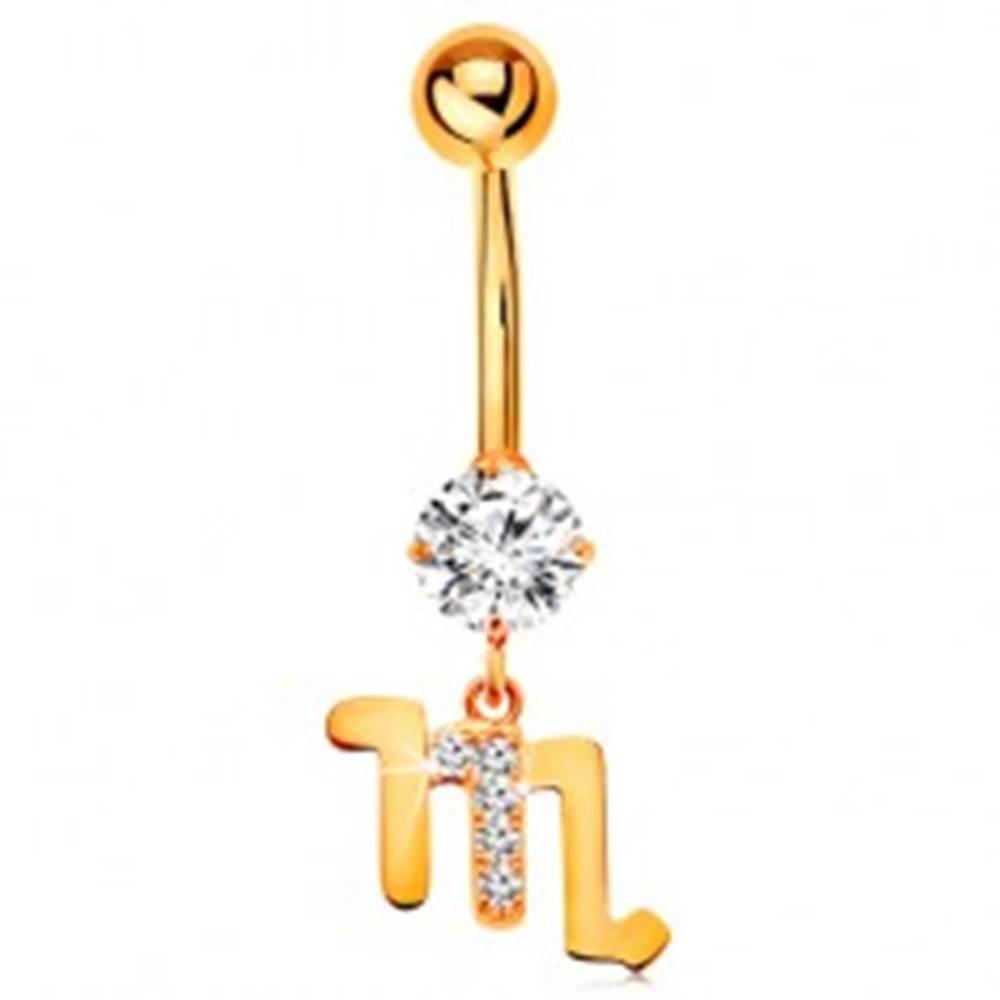 Šperky eshop Piercing do pupka zo žltého zlata 585 - číry zirkón, symbol zverokruhu - ŠKORPIÓN