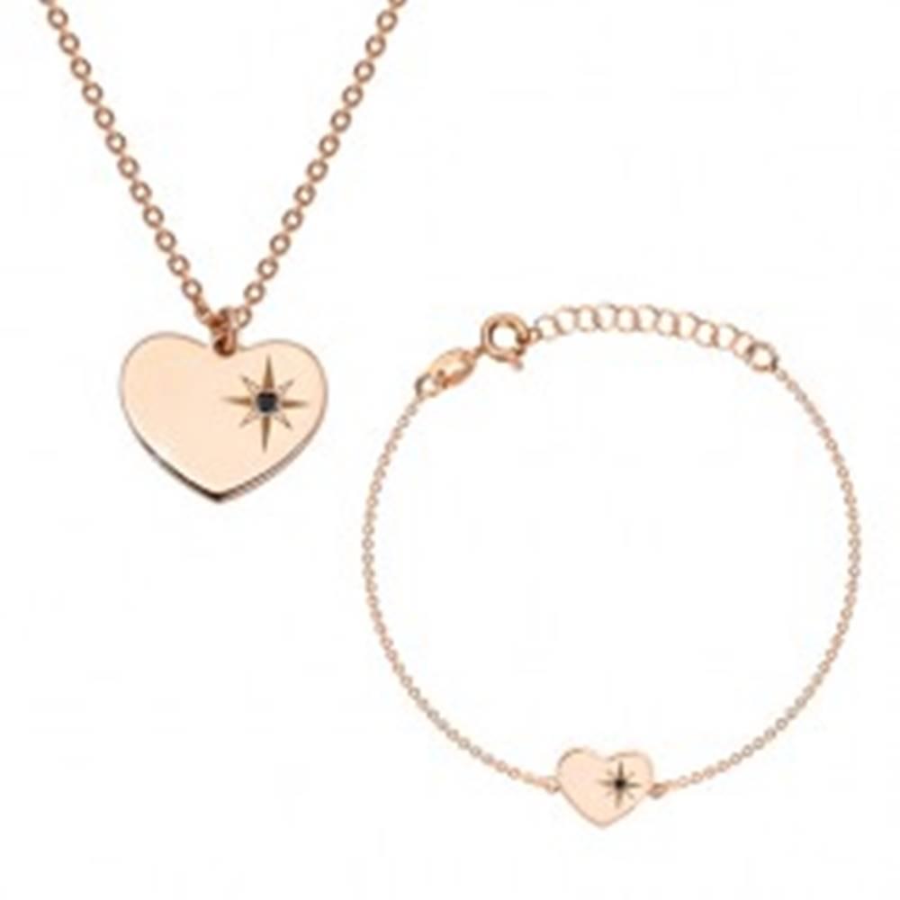 Šperky eshop Strieborný 925 set ružovozlatej farby - náramok a náhrdelník, srdce s Polárkou a diamantom