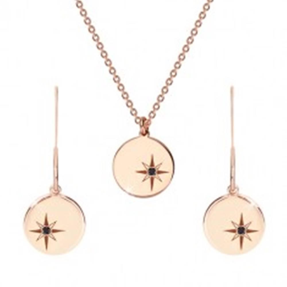 Šperky eshop Strieborný set 925 ružovozlatej farby - náhrdelník a náušnice, kruh s Polárkou, čierny diamant