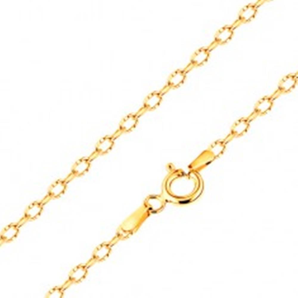 Šperky eshop Zlatá retiazka 585, lesklé oválne očká so zárezmi, 550 mm