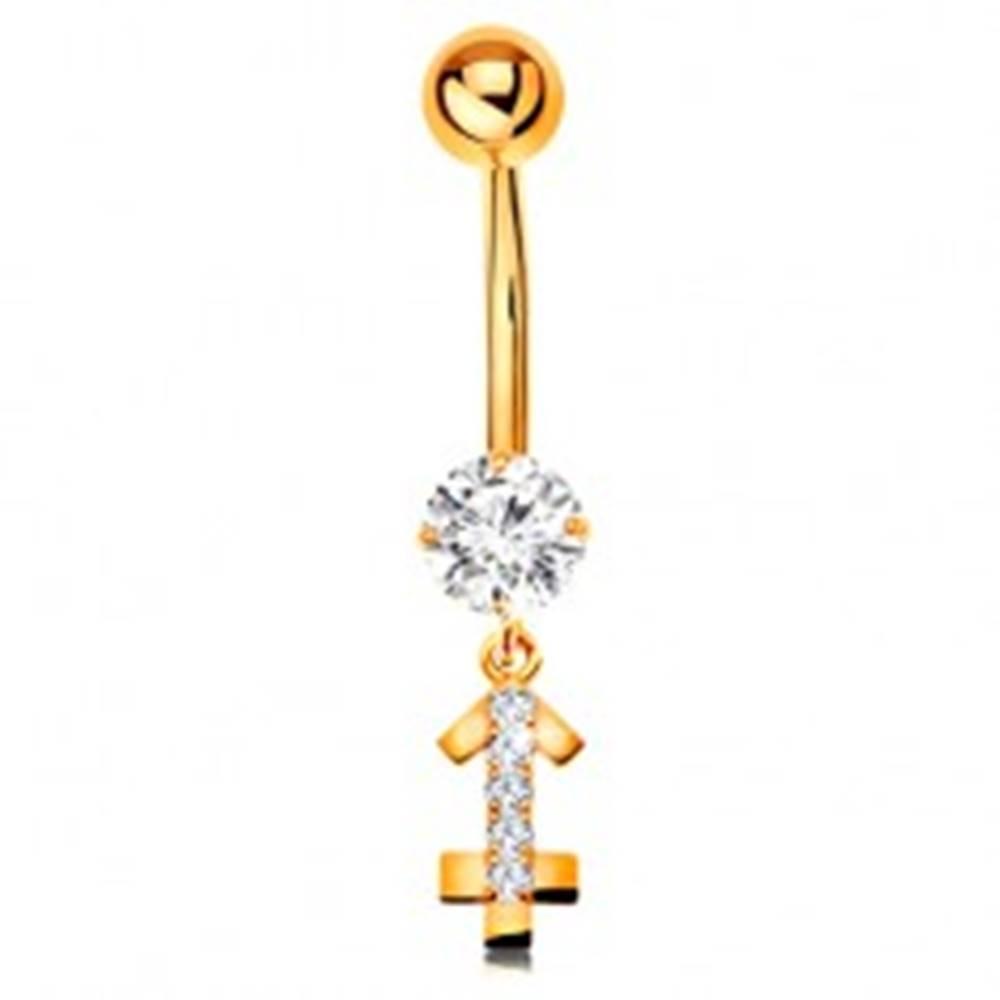 Šperky eshop Zlatý 14K piercing do bruška - číry zirkón, ligotavý symbol zverokruhu - STRELEC