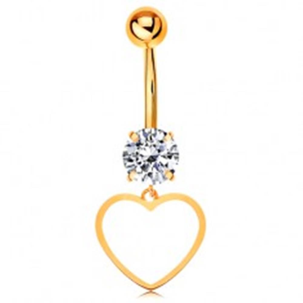 Šperky eshop Zlatý 14K piercing do bruška - číry zirkón, tenký obrys súmerného srdiečka