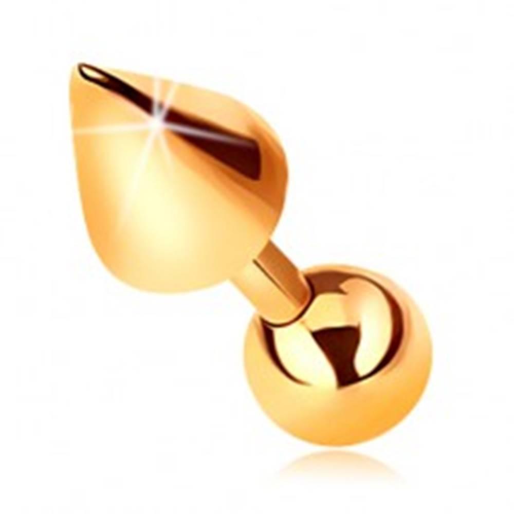 Šperky eshop Zlatý 14K piercing - lesklá rovná činka s guličkou a kužeľom do tragusu, 5 mm