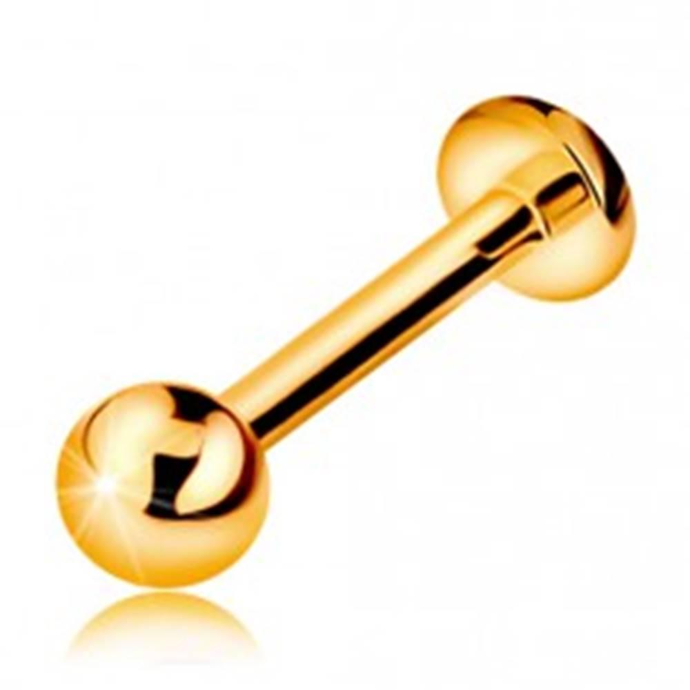 Šperky eshop Zlatý 585 piercing do pery, brady a nad peru - lesklá hladká gulička, 8 mm