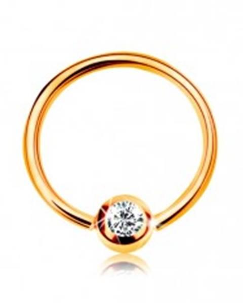 Šperky eshop Zlatý 14K piercing - lesklý krúžok a gulička so vsadeným zirkónom čírej farby, 8 mm