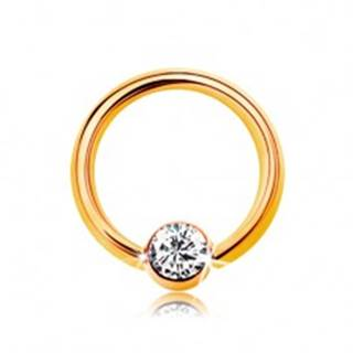 Piercing v žltom 14K zlate - malý krúžok s guličkou a čírym zirkónom, 6 mm