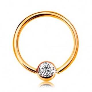 Piercing v žltom zlate 585 - lesklý krúžok s guličkou a vsadeným čírym zirkónom, 10 mm