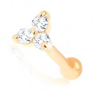 Rovný zlatý piercing do nosa 585 - trojlístok z čírych zirkónikov