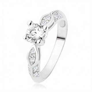 Strieborný prsteň 925, zásnubný, číre zirkóny, lesklý ovál, vypuklá línia - Veľkosť: 48 mm