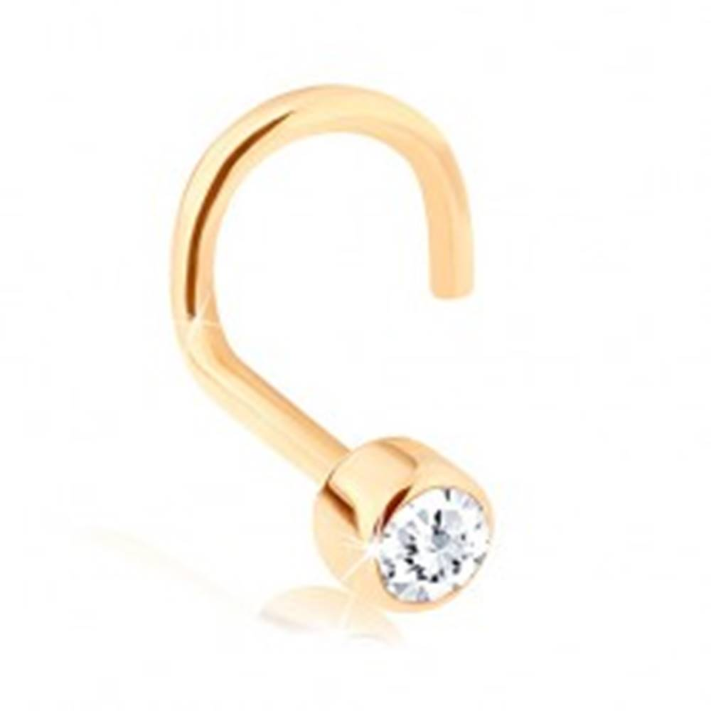 Šperky eshop Piercing do nosa zo žltého 14K zlata, zahnutý - číry zirkónik v lesklej objímke