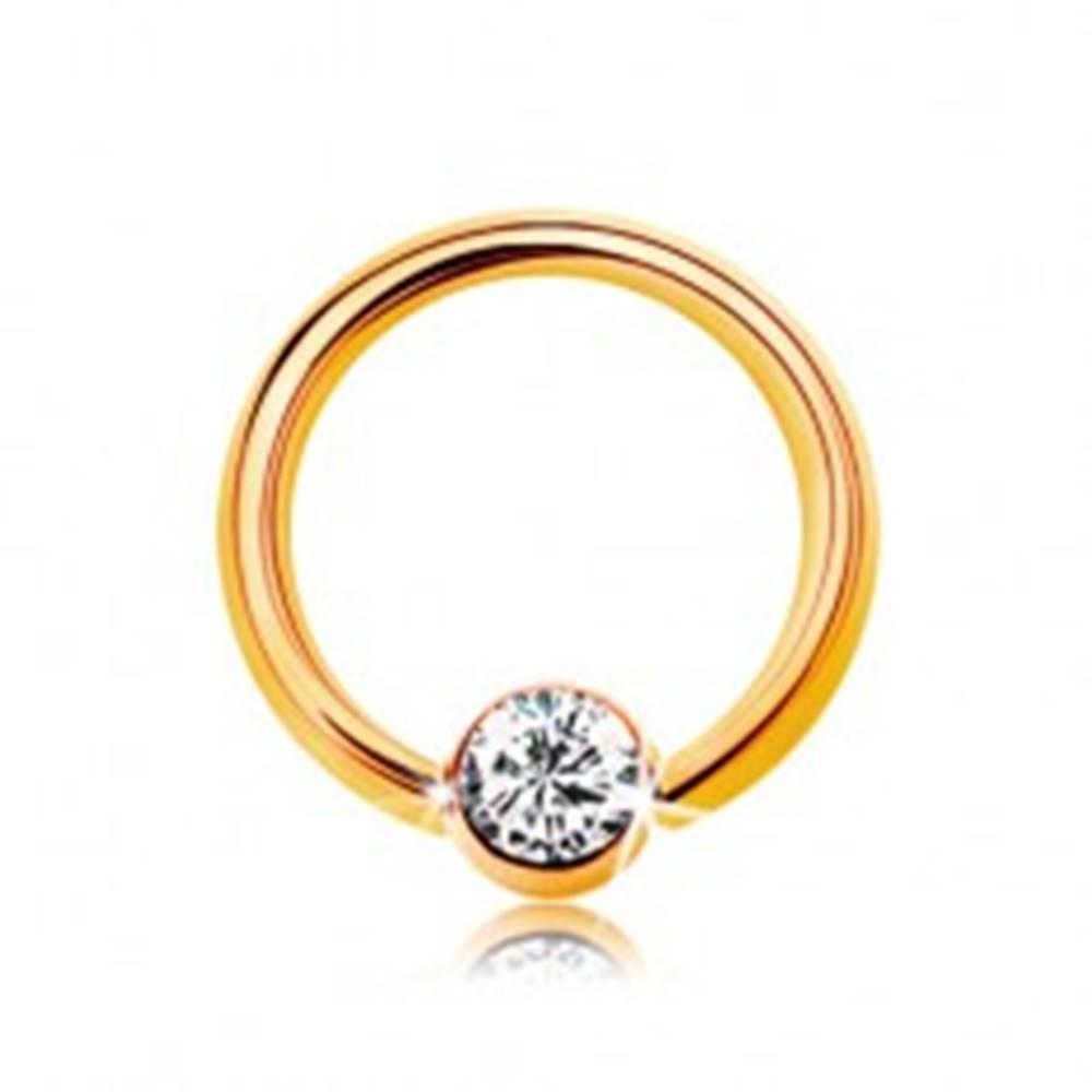 Šperky eshop Piercing v žltom 14K zlate - malý krúžok s guličkou a čírym zirkónom, 6 mm