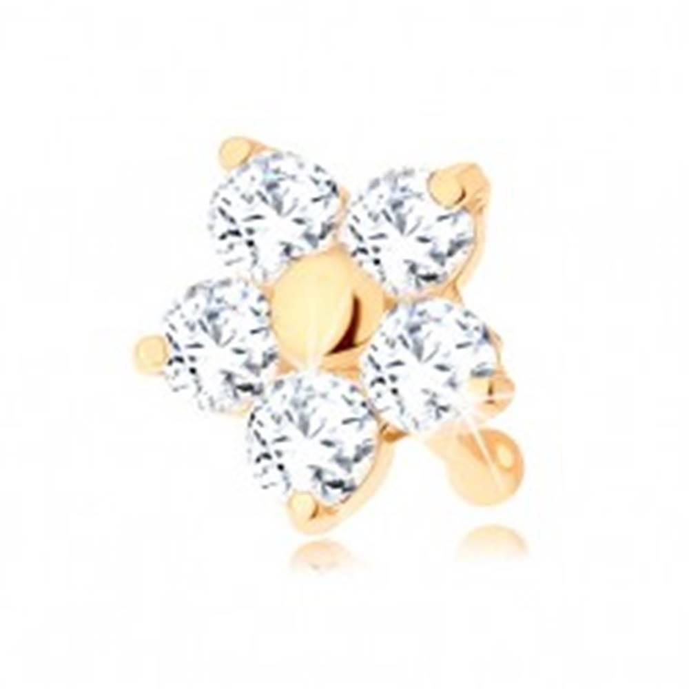 Šperky eshop Zlatý piercing do nosa 585 - rovný, trblietavý kvietok z čírych zirkónov