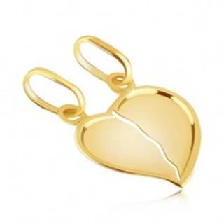 Prívesok zo zlata 14K pre pár - zlomené lesklé srdce s výrazným okrajom