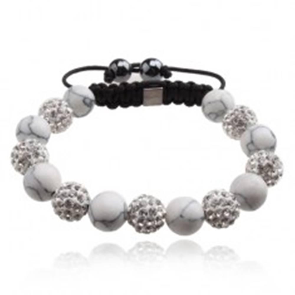Šperky eshop Náramok Shamballa, biele mramorové korálky, číre kamienky