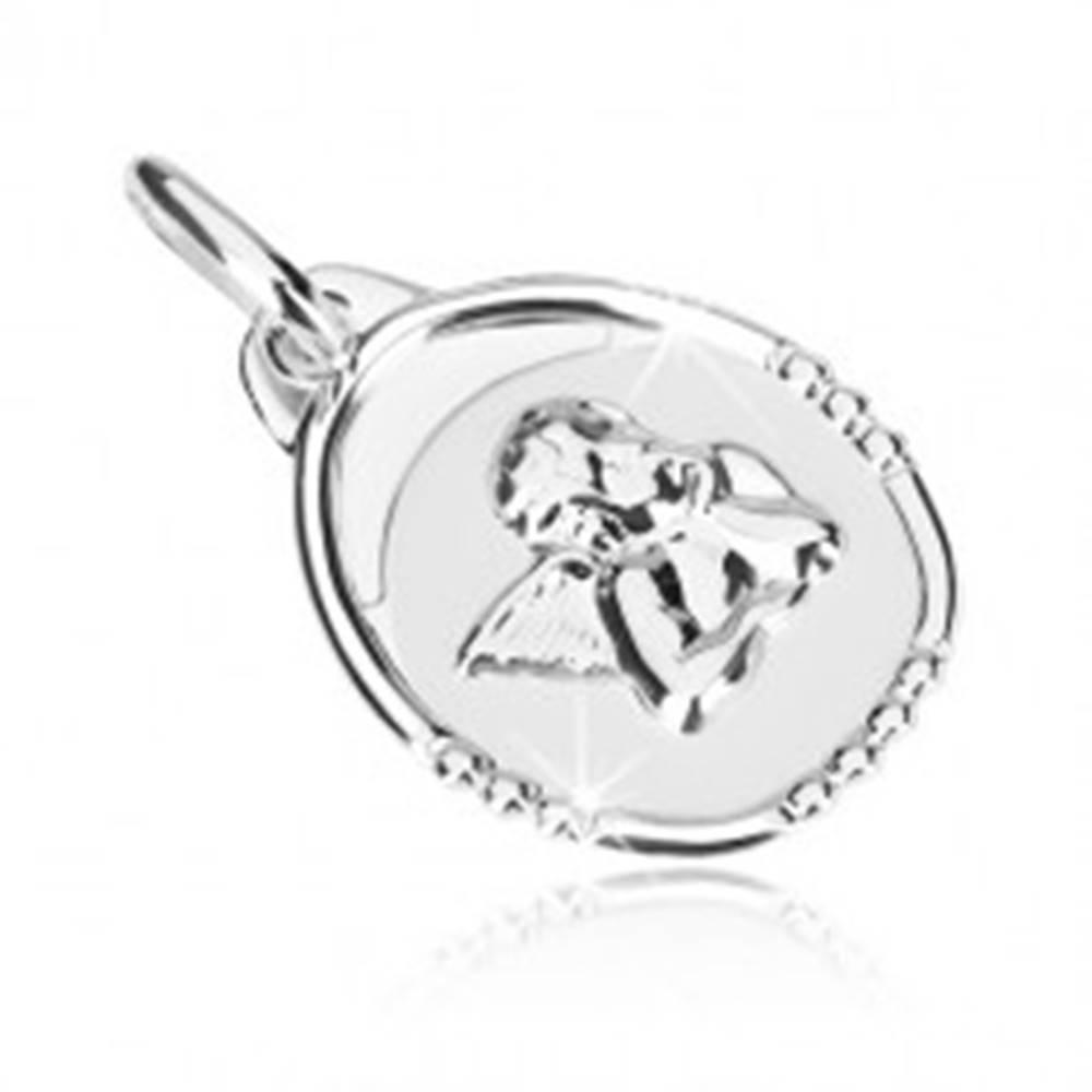 Šperky eshop Prívesok v bielom 14K zlate - platnička so zamysleným anjelikom