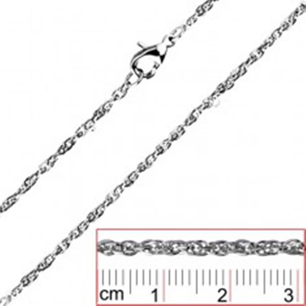 Šperky eshop Retiazka z ocele - točené, husto spojené oválne očká - Hrúbka: 2 mm
