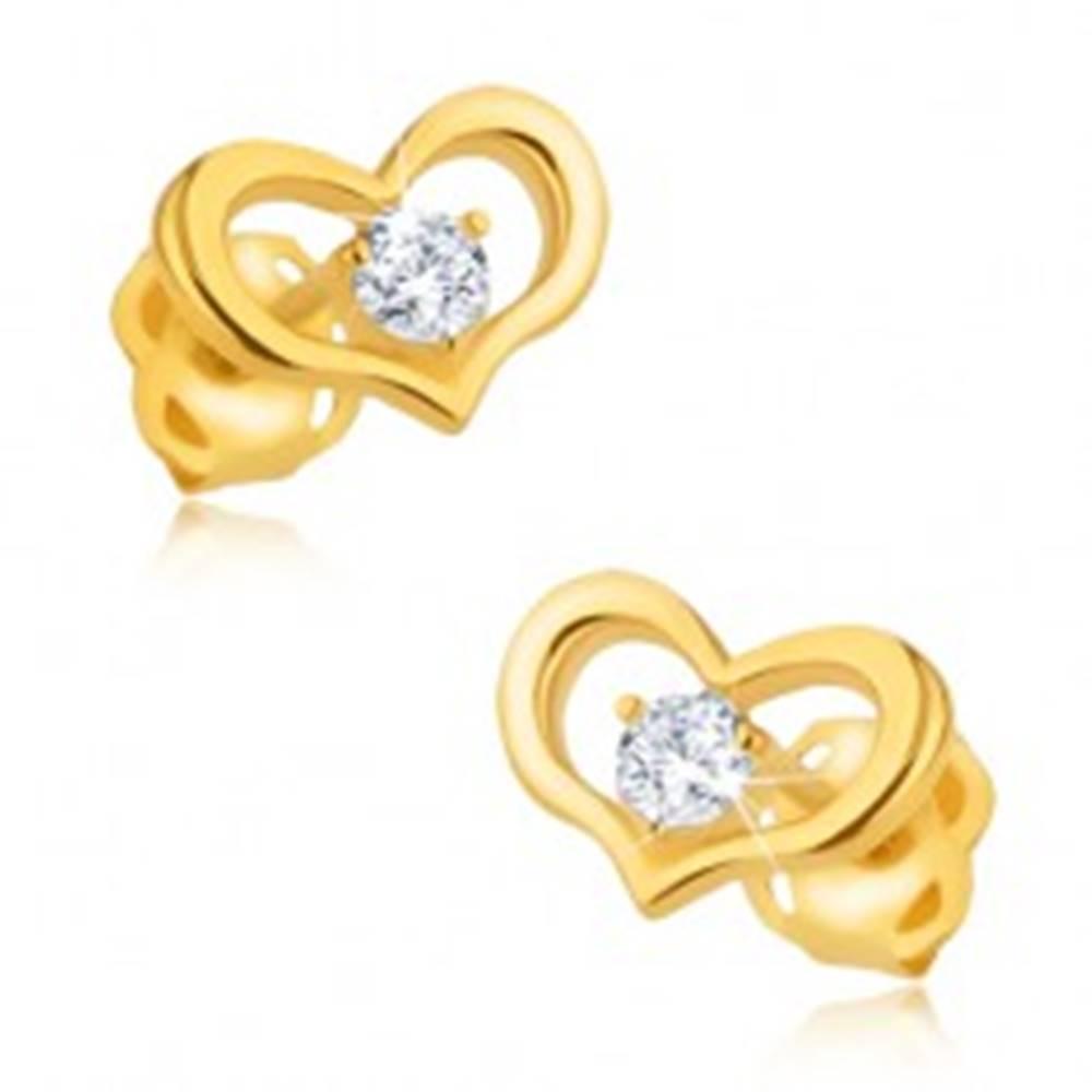 Šperky eshop Zlaté náušnice 375 - lesklý obrys symetrického srdiečka, okrúhly zirkón